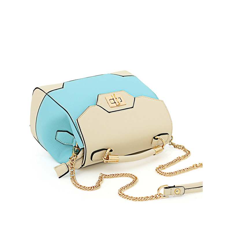 Famous Brand New Fashion Chain Bag Designer Sweet Style Panelled Bucket Bag Contrast Color Splicing font