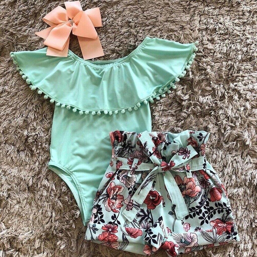Infant Baby Boys Girls Off Shoulder Tassel Ruffle Romper+Flora Shorts Outfit