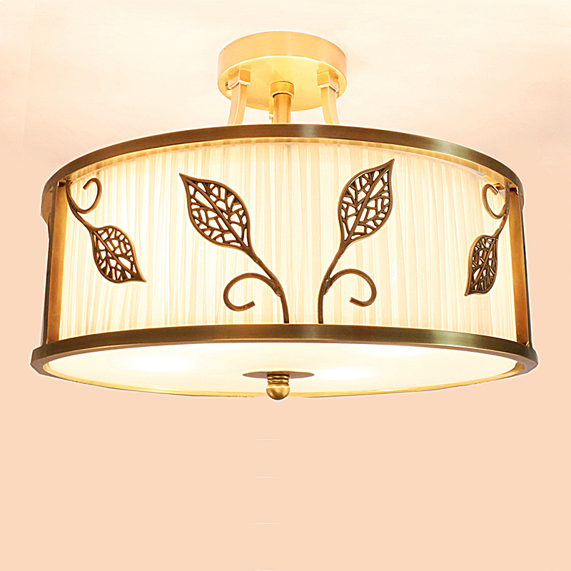 シンプルな銅d40cm天井ランプの寝室ランプ布ライト葉子供ラウンドはリビングルームスタディ天井ライトZA925719