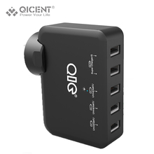 QICENT 5 Port 5V7.8A39W Mobile Phone USB  Wall Charger for USB cable PC iphone  Tablet with SONY Samsung Motorola HUAWEI