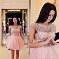 2016 Pink Short Cocktail Dresses For Girls Crystal Beaded Mini Tulle Short Sleeve robe de Cocktail Party Dress