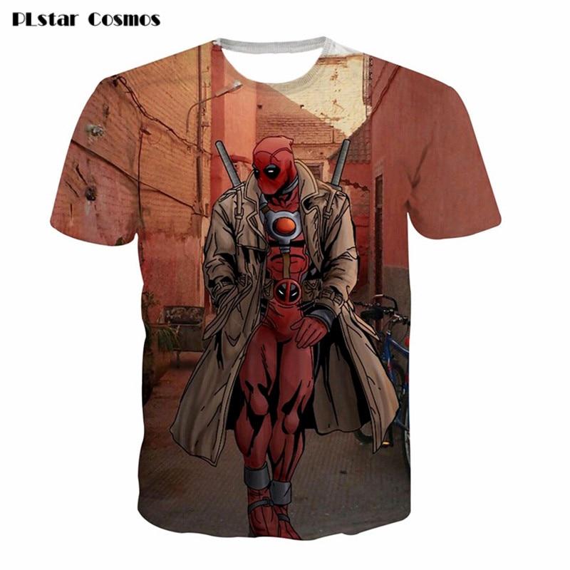 PLstar Cosmos 2018 New American Comic Badass Deadpool T-Shirt Tees Men/Women Cartoon Characters 3d t shirts Casual tee shirts