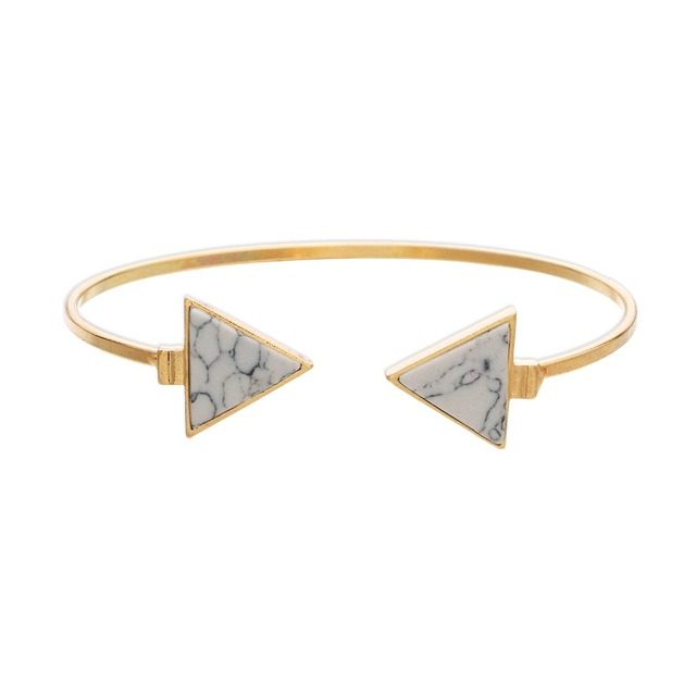 Black/White Geometric Triangle Open Bracelet