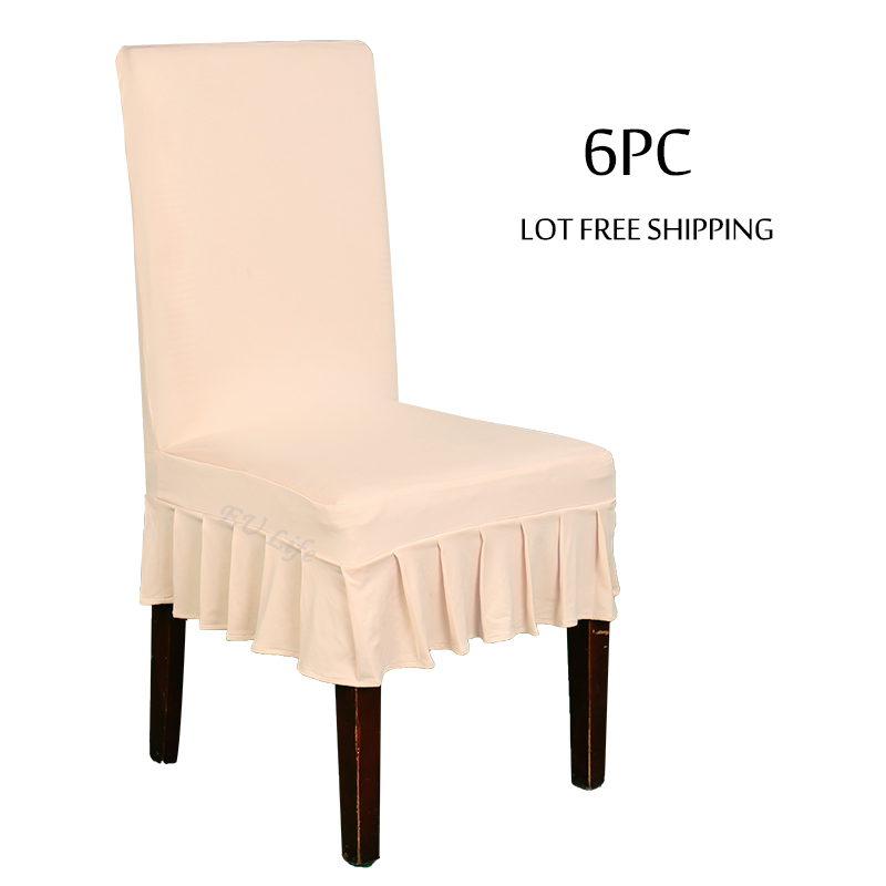 6 Piece Lycra Dining Chair Covers Spandex Stretch Home Seat Cover For Weddings Banquet