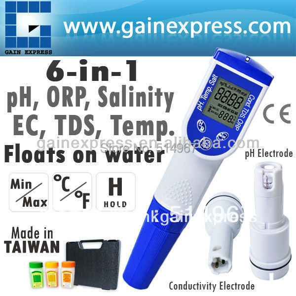 6-in-1  Pen type Water Quality Meter pH Temperature Conductivity EC TDS Salt Tester optional ORP ( Made in Taiwan ) 6 in 1 multi function water quality meter tester ec cf tds ph degree c and f