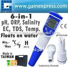 6-en-1 tipo Pluma Medidor De Calidad Del Agua pH Temperatura Conductividad EC TDS Sal Tester ORP opcional (Hecho en Taiwán)