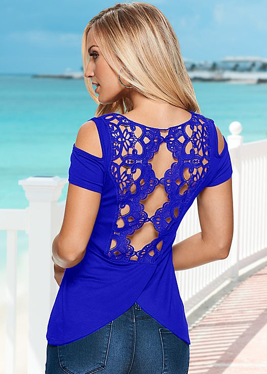 AS21 Sexy Hollow Out Lace back T-Shirts Solid Cotton Off Shoulder Tops T Shirt Womens Clothing Tees
