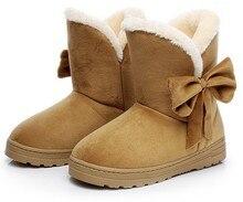 YeddaMavis Winter Snow Boots Women Shoes Woman 2019 Butterfly knot Warm Suede Womens Zapatos De Mujer