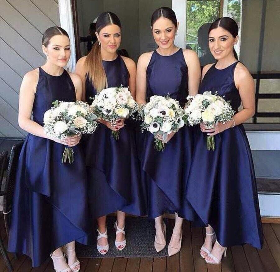 Navy Blue Satin   Bridesmaid     Dresses   2019 Ankle Length Off The Shoulder A Line Graceful Women Wedding Party Gowns Robe De Soiree