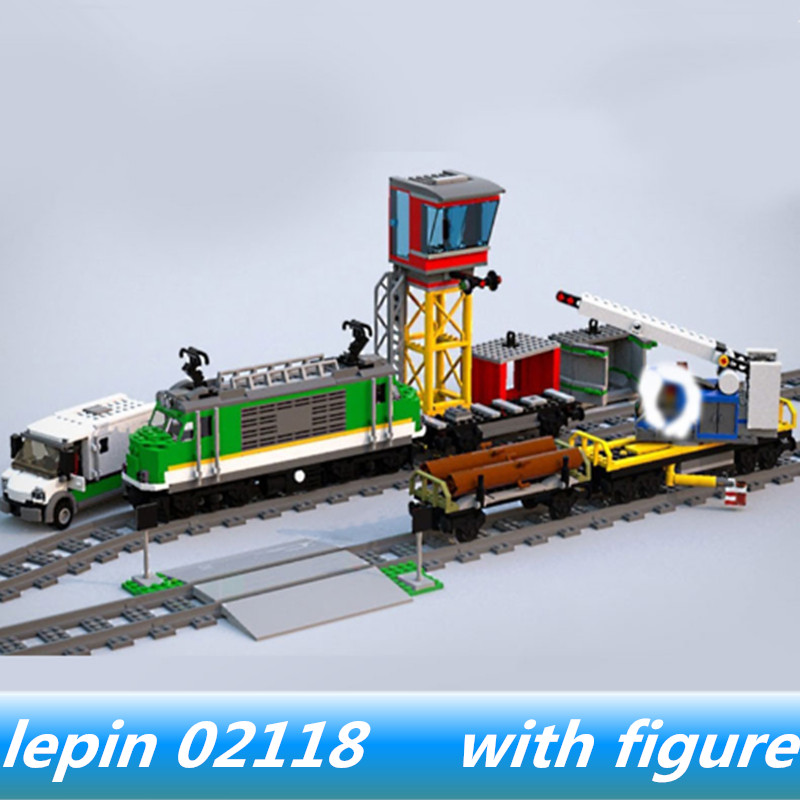 Lepin 02118 lepin City Series The Cargo Train Set Compatible legoing City legoing 60198 Building Blocks Toys for child Model 2018 lepin 02118 city series rc cargo train set compatible legoinglys 60198 city train building blocks bricks toys for children