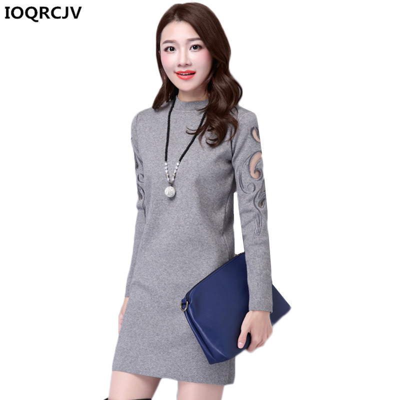 Autumn Winter Women Sweaters 2018 New Fashion Knit Pullover Slim Large Size Short Knit Sweater Dress Women Clothing IOQRCJV K831
