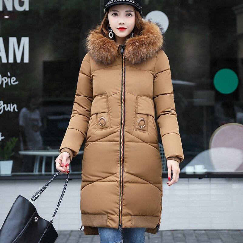 Medium-long Fashion Fur Collar Hooded Women 's Winter Coat 2017 New Arrival Solid Straight Zipper Female Parkas Big Pocket QX319 bert pulitzer men s big textured solid sport coat