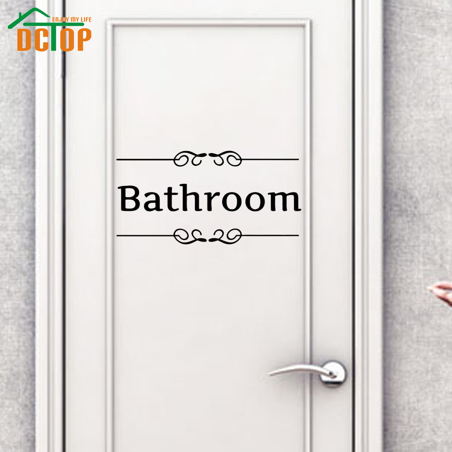 dctop bathroom door sign black vinyl wall stickers adhesive stickers removable door decal toliet. Black Bedroom Furniture Sets. Home Design Ideas