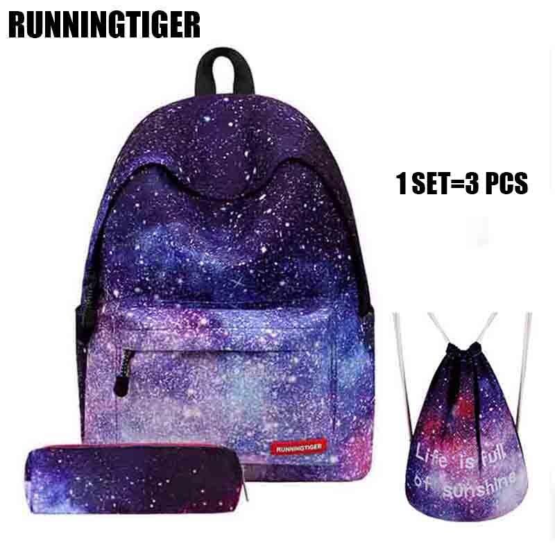 RUNNINGTIGER mochila mujeres universo espacio escuela mochila con cordón bolsa y lápiz 3 unids conjunto mochila feminina W505Z