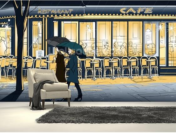 Retro Art Woonkamer : Custom art behang wandelen in de regen d retro cartoon