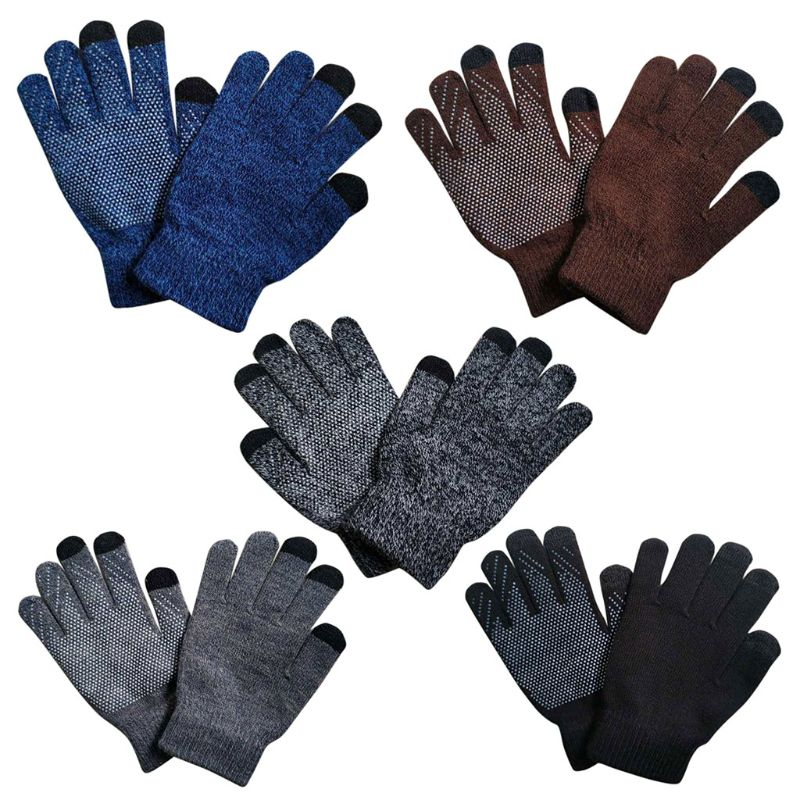 Women Men Unisex Winter Thickened Ribbed Knitted Gloves Full Fingered Anti-Skid Magic Touch Screen Contrast Color Hand Warmer Wr