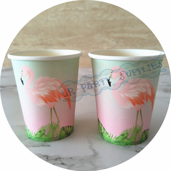 80pcs flamingo print paper cups summer party birthday bbq party celebration paper cups wedding bridal shower drinking cups in disposable party tableware