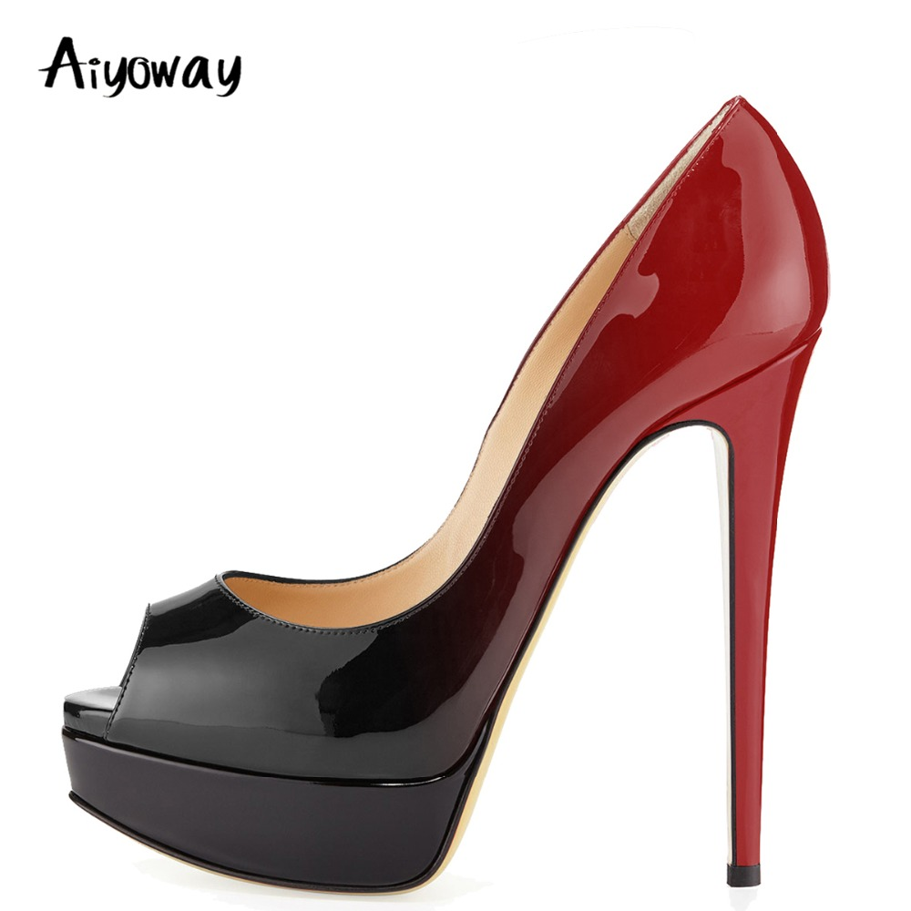 Automne Aiyoway Printemps Femmes Sexy SlipSur black blue Toe Talons Plate Pompes Chaussures Clubwear Dames forme Red Mode Peep Robe black Nm80vnw