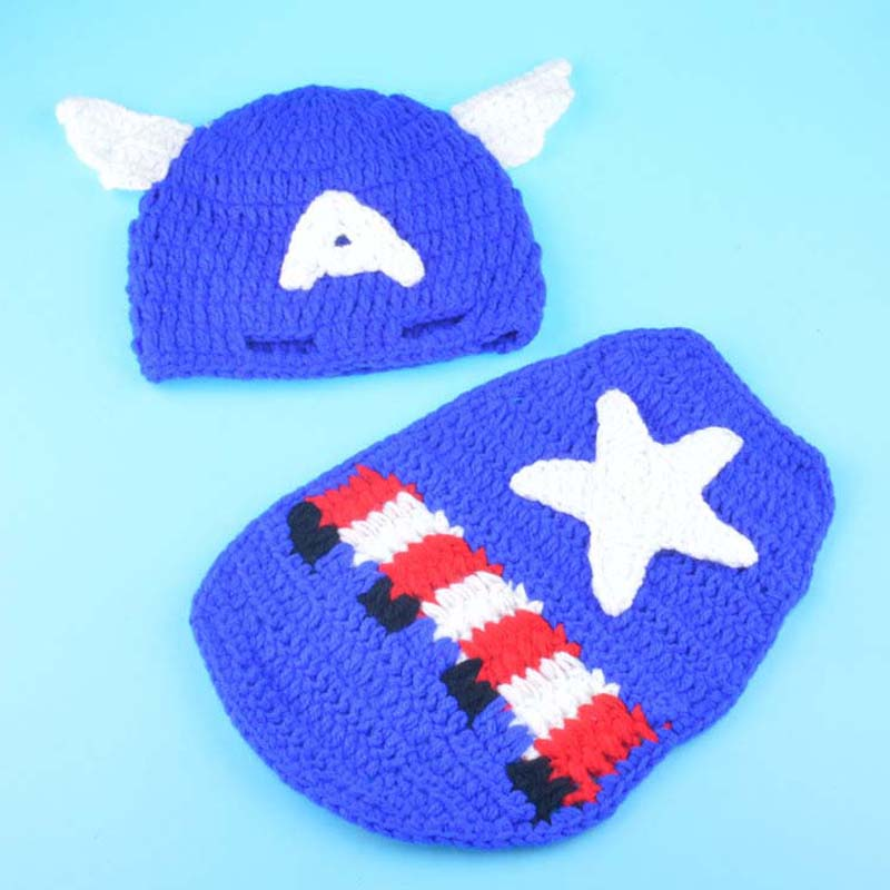 Crochet Pattern Captain America Newborn Photo Prop Outfit Knitted