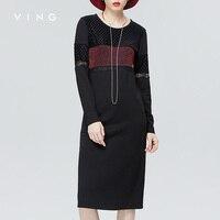 VING 2016 Autumn New Straight Dress Net Spliced Patchwork O Neck Dresses Long Sleeve Black