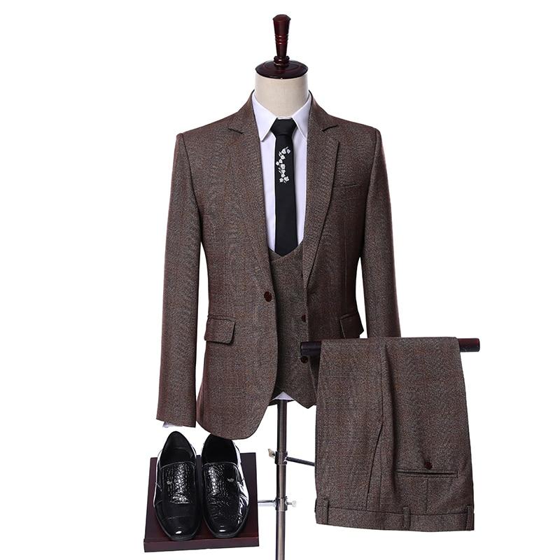 Elegant Designs 2019 Casual Business Brown Plaid 3 Pieces Formal Dress Mens Suits Set Men Wedding Suit For Men Groom Tuxedos