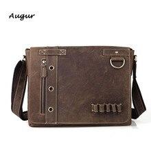 Men's Handmade Leather Messenger Bag Genuine Leather Vintage Horse Leather Laptop Bag Men's Casual Leather Shoulder Bag 1006