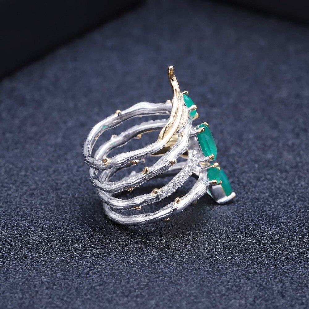 Image 5 - GEMS BALLET 2.26Ct Natural Green Agate Gemstone Finger Rings 925  Sterling Sliver Fashion Band Ring For Women Gift Fine JewelryRings
