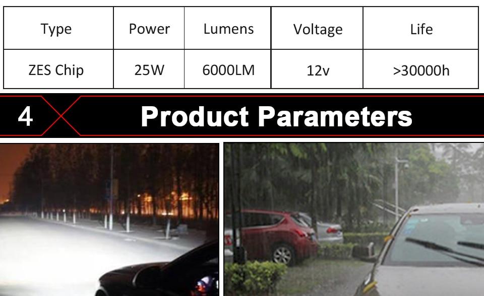 Aceersun X3 Series Fanless 50W H7 LED Car Headlight Bulbs WhiteAmber 6000lm H7 Auto Headlamp LED Car Bulb 12V 3000K6500K8000K (13)