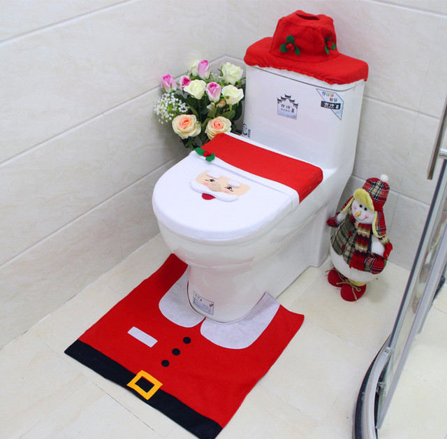 4Styles 1set 3pc Fancy Happy Santa Toilet Seat Cover Rug Bathroom Set Decoration Christmas