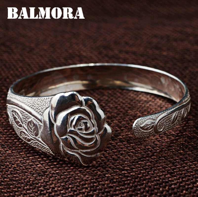 BALMORA 990 Pure Silver Vintage Flower Open Bangles for Women Mother Lover Gift about 18cm Bracelet Jewelry Accessories WBH0107