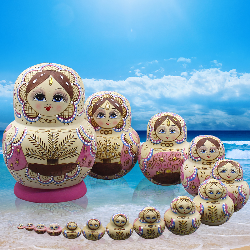 15pcs/set Matryoshka Doll Hand-painted Russian Nest Doll Wooden Toys Handicrafts Educati ...