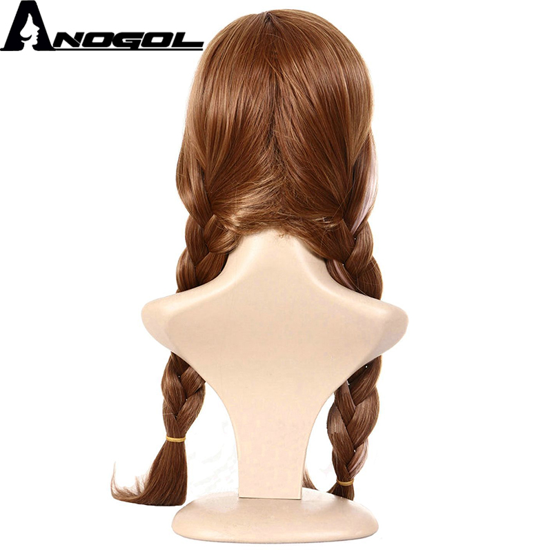 Image 3 - Anogol Anna Brown Mix Blonde Double Braided Synthetic Cosplay Party Wig For Children and Adults Free ShippingSynthetic None-Lace  Wigs   -