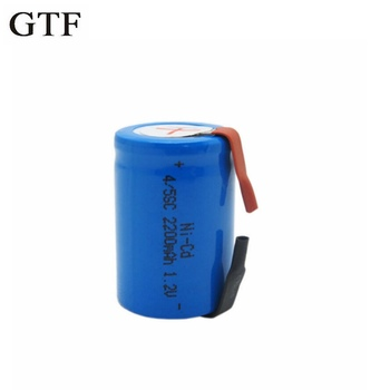 GTF 2PCS Ni-Cd 4/5 SubC Sub C 1.2V 2200mAh Rechargeable Battery With Tab image