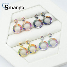 5Pairs, Women Fashion Jewelry,The Rainbow Series,The Double Circle Shape Earring.4 Colors,Can Wholesale