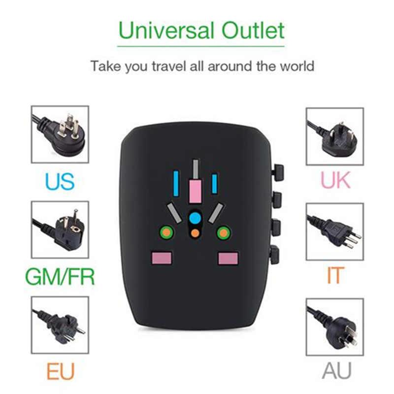 TESSAN All-In-One na międzynarodowe podróże przejściówka adapter 4 porty USB/3 USB/2USB-uniwersalne gniazdo elektryczne uniwersalny adapter do usa/ue/AU/UK