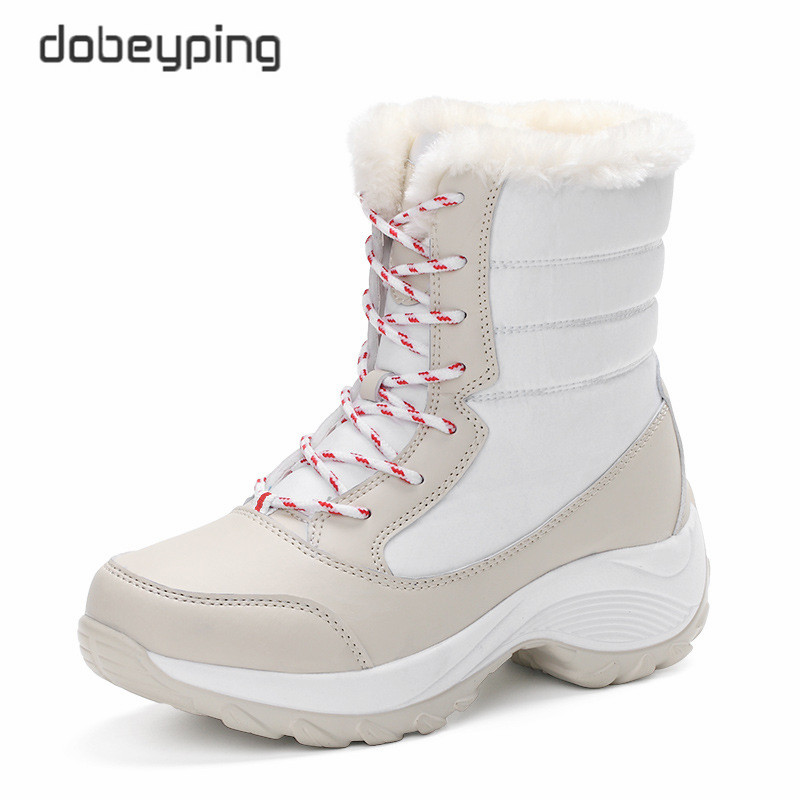 dobeyping Keep Warm Women's Cotton Shoe Lace Up Winter Women Boots Plush Female Flats Shoes Woman Waterproof Mid-Calf Snow Boots plus size 34 47 new autumn winter plush women boots mid calf snow boots woman keep warm mother botas butterfly flats roman shoes