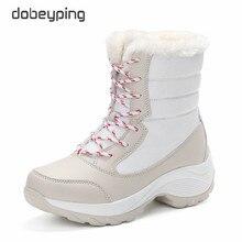 dobeyping Keep Warm Womens Cotton Shoe Lace Up Winter Women Boots Plush Female Flats Shoes Woman Waterproof Mid-Calf Snow