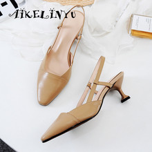 AIKELINYU Summer Fashion Womens Sandals Sexy Pointed Toe Comfortable High Quality Genuine Leather Shoes Hot Sale Unique