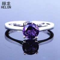 Sterling Silver 925 Gemstone Jewelry Amethyst Ring Engagement Wedding Ring For Women Gemstone Solitaire Elegant Bride