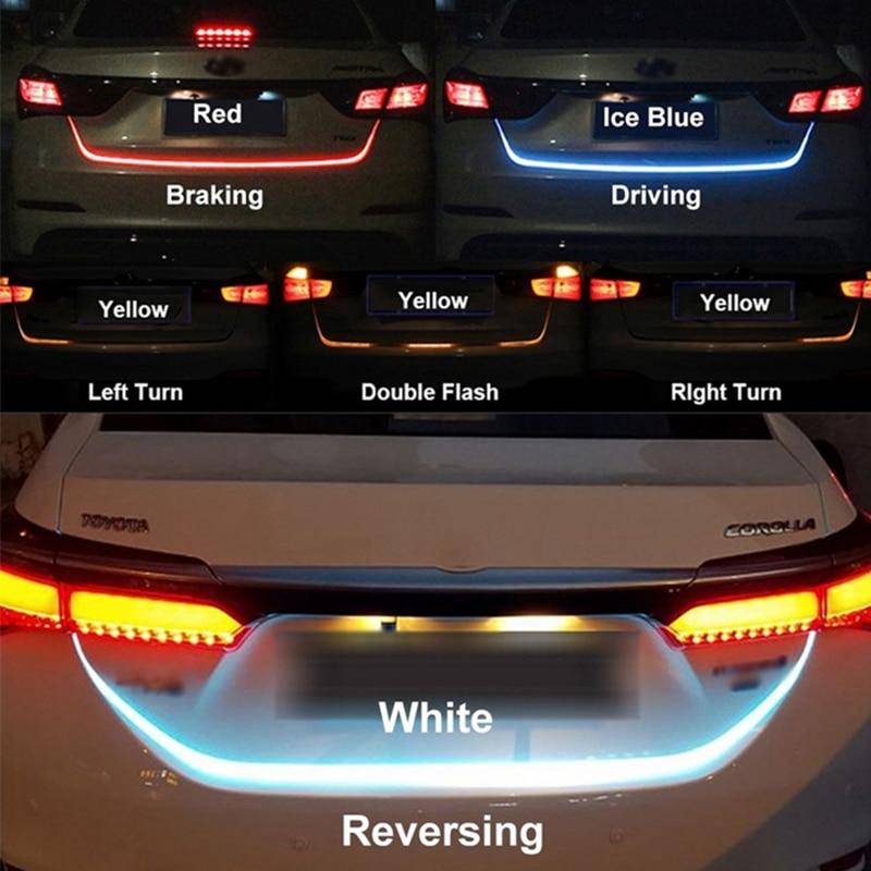 Carro-styling OKEEN amarelo turn signal led trunk Luz de tira para a Cauda do carro tronco Porta Traseira levou tira flash seguir DIODO EMISSOR de Luz