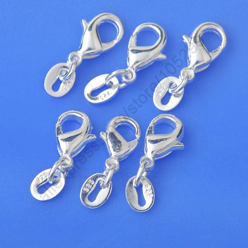 Bulk 50PCS/Lot Genuine 925 Sterling Silver Lobster Clasp Jump Rings Tags Connector Components DIY Bracelets Necklace