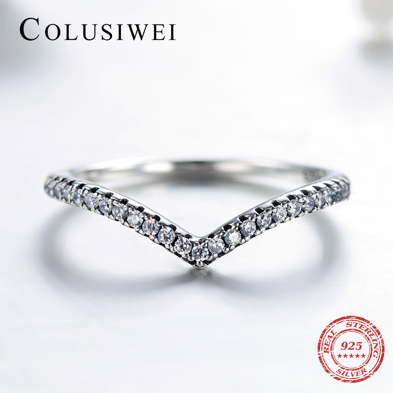 COLUSIWEI 3 Style Real 925 Sterling Silver Simple Fashion Geometric Ring Stackable Finger Clear Wedding Jewelry For Women Rings
