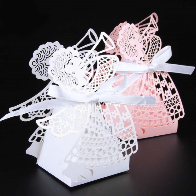 10pcslots Laser Cut Angel Wedding Box Souvenirs Baby Shower Candy