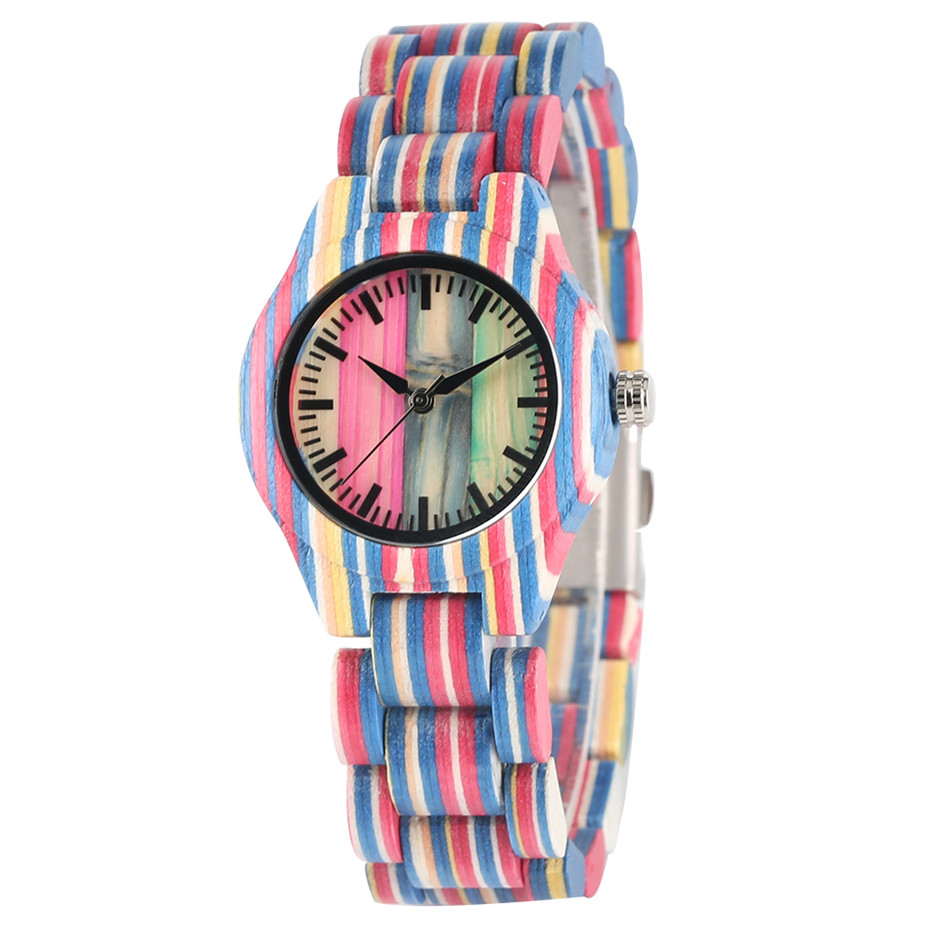 Bangle Watch Wooden Quartz Minimalist Women Ladies Reloj Colorful Display Ultra-Light