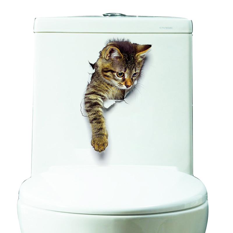 Hole View 3D Cats Wall Sticker Bathroom Living Room Home Decor for Animal Vinyl Decals Art Poster cute Toilet Stickers