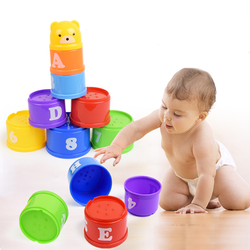 9PCS Baby Toys Stacking Cups Towers Sorting Nesting For Children's Pyramid Character And Numbers Educational Stack Cup Toys