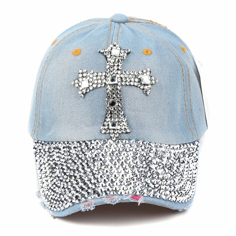 Fashion New Solid Denim Vintage Adjustable Baseball Caps For Women Girl Summer Caps Hip Hop Snapback Hat Rhinestone accessories in Women 39 s Baseball Caps from Apparel Accessories