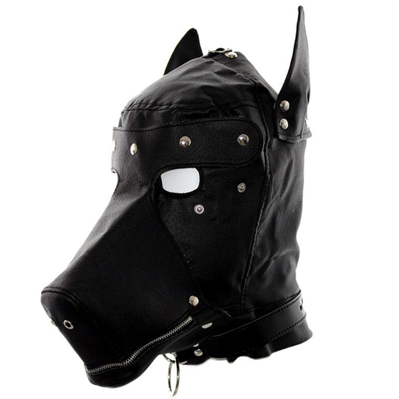 Голова Кожа жгут полиуретановая маска капюшон рот Даг БДСМ костюм фетиш бондаж регулируемый - Цвет: PG0179