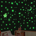 Free Shipping Luminous Moon Stars 3D-wall  Fluorescent Sticker Children Bedroom Creative Wall Stickers 4 Color 13 Styles