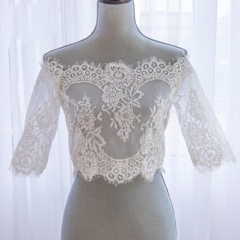 Romantisk Tulle Bolero Bröllopshalva Ärm Lace Off Shoulder Bröllop - Bröllopstillbehör - Foto 5